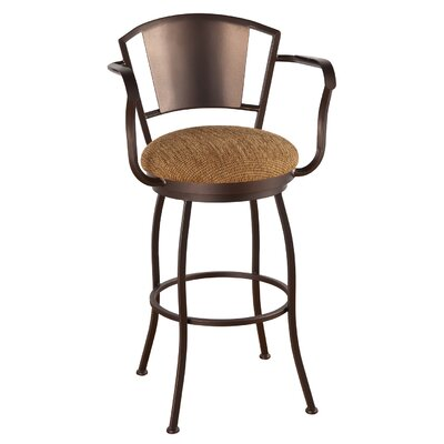 Bristol 34 inch Swivel Bar Stool Frame Finish: Sun Bronze, Upholstery: Ford Red
