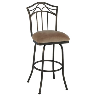 Berkeley 26 Swivel Bar Stool Frame Finish: Flintrock Gray, Upholstery: Victoria Dark Brown