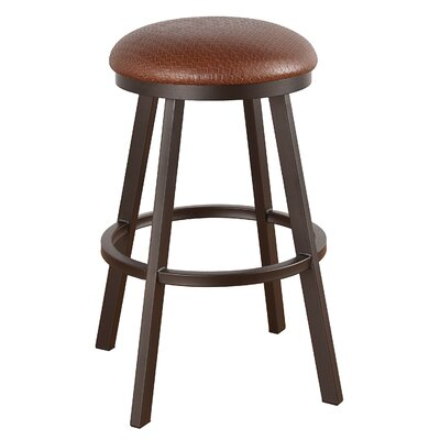 Claremont 34 inch Swivel Bar Stool Frame Finish: Matte Black, Upholstery: Bacova Barley