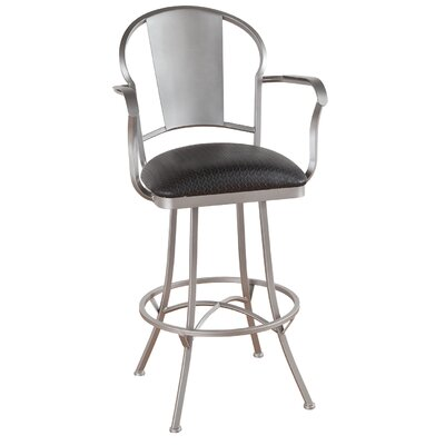 Charleston 30 Swivel Bar Stool Frame Finish: Matte Black, Upholstery: Radiance Pewter