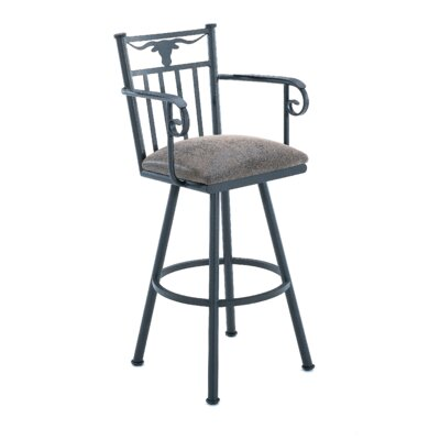 Longhorn 34 Swivel Bar Stool Frame Finish: Flintrock Gray, Upholstery: Victoria Dark Brown