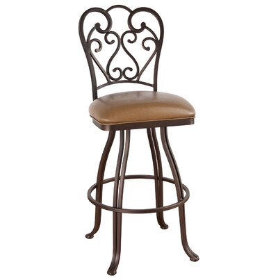 Valencia 30 Swivel Bar Stool Upholstery: Mayflower Cocoa, Frame Finish: Pebblestone