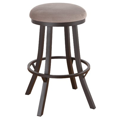 Rochester 26 Swivel Bar Stool Frame Finish: Flintrock Gray, Upholstery: Bacova Barley