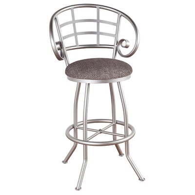 Walton 26 inch Swivel Bar Stool Upholstery: Ford Black, Frame Finish: Pebblestone