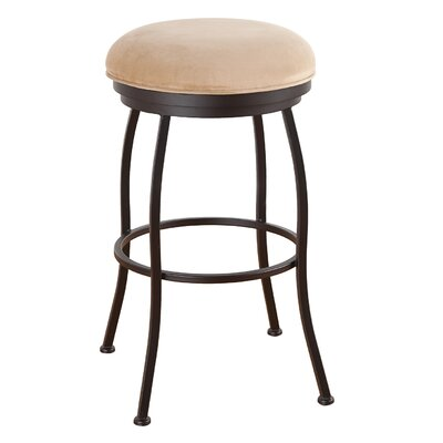 Bristol 34 inch Swivel Bar Stool Frame Finish: Flintrock Gray, Upholstery: Mayflower Cocoa