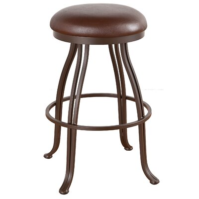 Valencia 34 Swivel Bar Stool Frame Finish: Flintrock Gray, Upholstery: Victoria Dark Brown