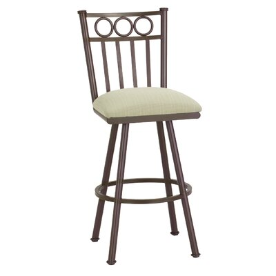 Washington 34 Swivel Bar Stool Frame Finish: Pebblestone, Upholstery: Ford Black
