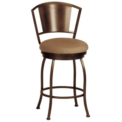 Bristol 26 inch Swivel Bar Stool Upholstery: Corona Earth, Frame Finish: Pebblestone