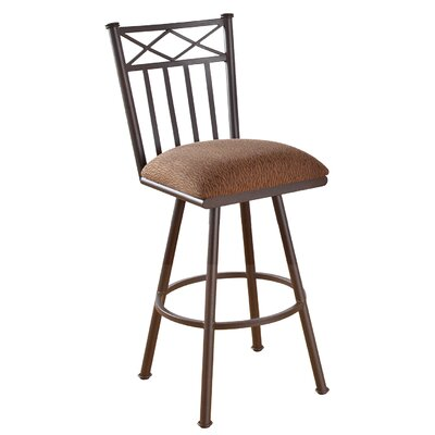Arcadia 34 Swivel Bar Stool Frame Finish: Flintrock Gray, Upholstery: Victoria Dark Brown
