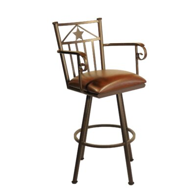 Lonestar 34 Swivel Bar Stool Frame Finish: Pebblestone, Upholstery: Ford Red