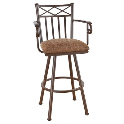 Arcadia 26 Swivel Bar Stool Frame Finish: Matte Black, Upholstery: Bacova Barley