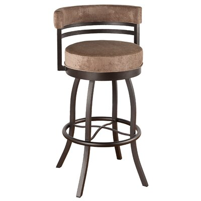 Americana 34 Swivel Bar Stool Frame Finish: Flintrock Gray, Upholstery: Victoria Dark Brown