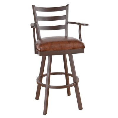 Claremont 30 inch Swivel Bar Stool Frame Finish: Pebblestone, Upholstery: Mayflower Cocoa