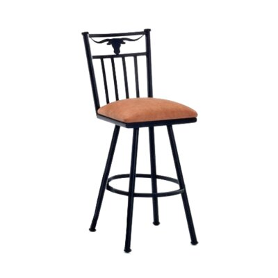 Longhorn 26 Swivel Bar Stool Frame Finish: Flintrock Gray, Upholstery: Bacova Barley