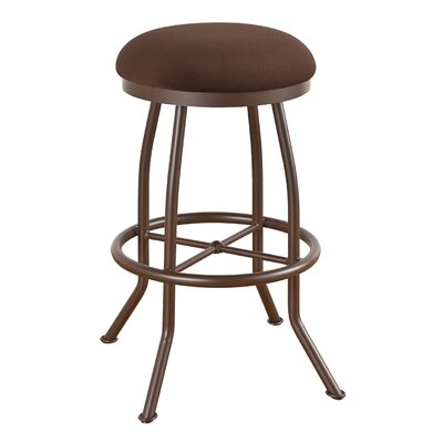 Walton 34 Swivel Bar Stool Frame Finish: Flintrock Gray, Upholstery: Victoria Dark Brown