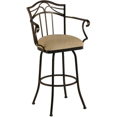 Berkeley 34 inch Swivel Bar Stool Frame Finish: Sun Bronze, Upholstery: Victoria Dark Brown