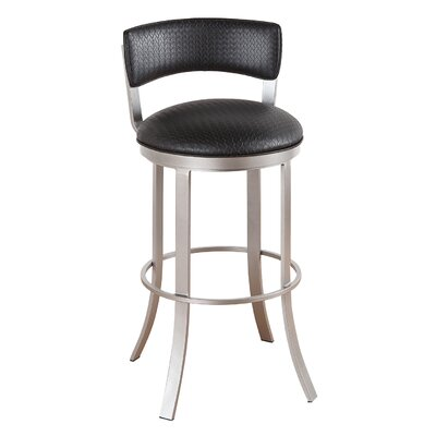 Bailey 26 Swivel Bar Stool Frame Finish: Matte Black, Upholstery: Radiance Pewter