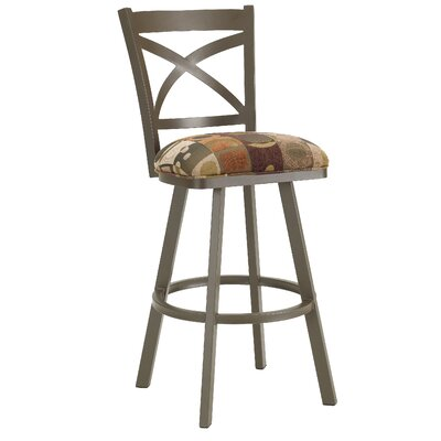Edison 34 Swivel Bar Stool Frame Finish: Flintrock Gray, Upholstery: Victoria Dark Brown