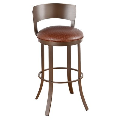 Bailey 34 Swivel Bar Stool Frame Finish: Sun Bronze, Upholstery: Victoria Dark Brown