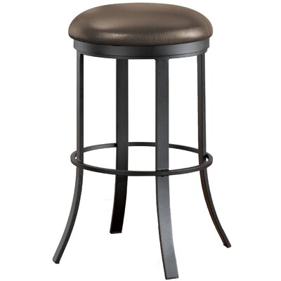 Bailey 34 Swivel Bar Stool Frame Finish: Flintrock Gray, Upholstery: Victoria Dark Brown