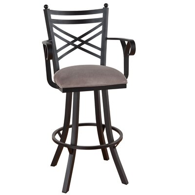 Rochester 26 inch Swivel Bar Stool Frame Finish: Flintrock Gray, Upholstery: Victoria Dark Brown