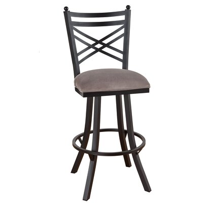 Rochester 26 inch Swivel Bar Stool Upholstery: Mayflower Cocoa, Frame Finish: Pebblestone