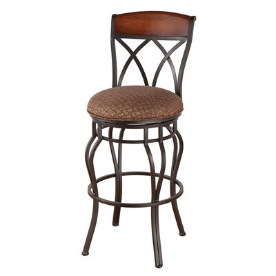 Hayward 34 Swivel Bar Stool Frame Finish: Flintrock Gray, Upholstery: Bacova Barley