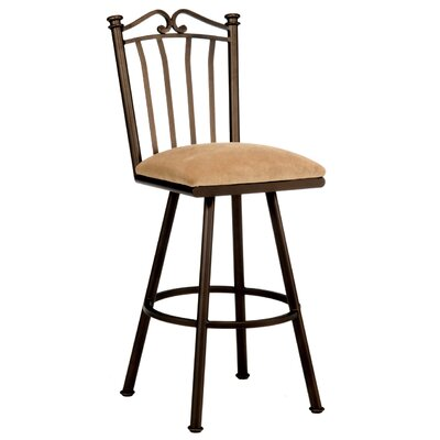 Sunset 34 Swivel Bar Stool Frame Finish: Flintrock Gray, Upholstery: Victoria Dark Brown
