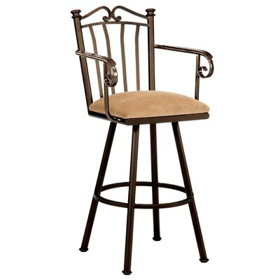 Sunset 30 inch Swivel Bar Stool Frame Finish: Pebblestone, Upholstery: Radiance Pewter