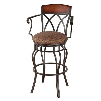 Hayward 34 Swivel Bar Stool Frame Finish: Flintrock Gray, Upholstery: Victoria Dark Brown