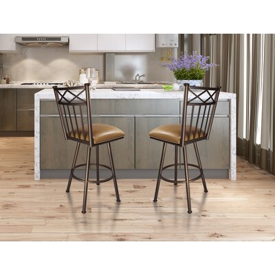 Arcadia 30 Swivel Bar Stool Frame Finish: Flintrock Gray, Upholstery: Victoria Dark Brown