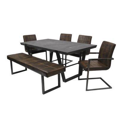 Fullerton 6 Piece Dining Set Upholstery Color: Chestnut