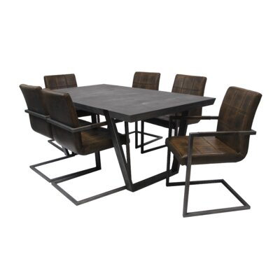 Fullerton 7 Piece Dining Set Upholstery Color: Chestnut