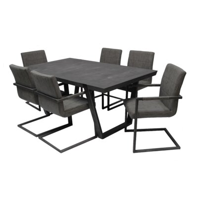 Fullerton 7 Piece Dining Set Upholstery Color: Charcoal