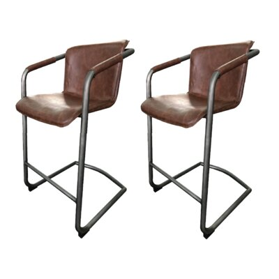 Tustin 26 Bar Stool (Set of 2) Upholstery: Chestnut