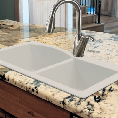 Aversa 33 x 22 Granite Double Offset Drop-in Kitchen Sink Finish: White