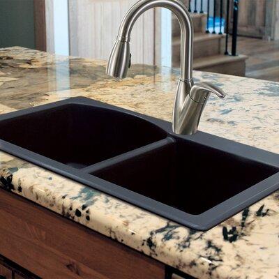 Aversa 33 x 22 Granite Double Offset Drop-in Kitchen Sink Finish: Black