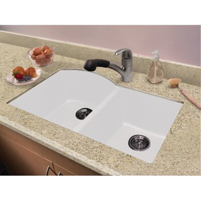 Aversa 31.5 x 20.5 Granite Double Offset Undermount Kitchen Sink Finish: White