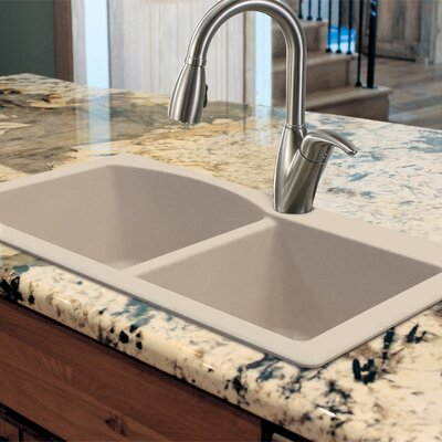 Aversa 33 x 22 Granite Double Offset Drop-in Kitchen Sink Finish: Espresso