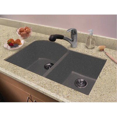 Aversa 31.5 x 20.5 Granite Double Offset Undermount Kitchen Sink Finish: Grey