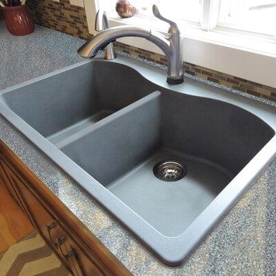 Aversa 33 x 22 Granite Double Equal Drop-in Kitchen Sink Finish: Grey