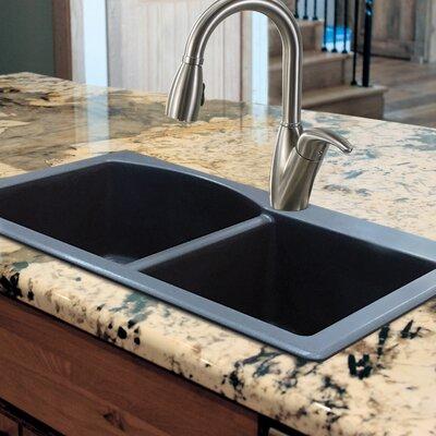 Aversa 33 x 22 Granite Double Offset Drop-in Kitchen Sink Finish: Grey