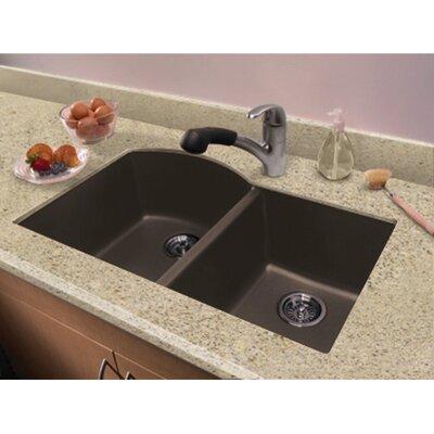 Aversa 31.5 x 20.5 Granite Double Offset Undermount Kitchen Sink Finish: Espresso