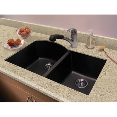 Aversa 31.5 x 20.5 Granite Double Offset Undermount Kitchen Sink Finish: Black