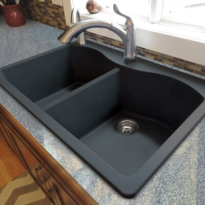 Aversa 33 x 22 Granite Double Equal Drop-in Kitchen Sink Finish: Black