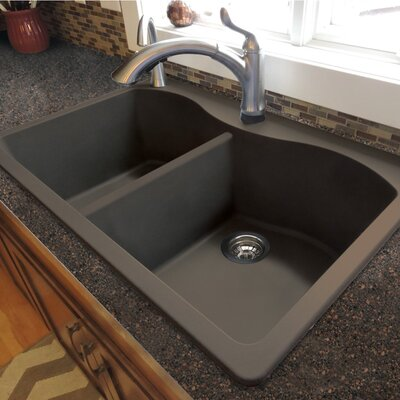 Aversa 33 x 22 Granite Double Equal Drop-in Kitchen Sink Finish: Cafe Latte