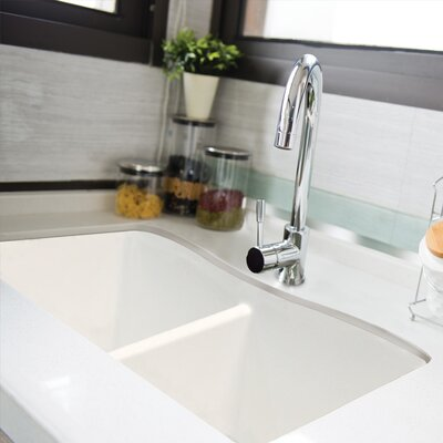 Aversa 32 x 19 Granite Double Equal Undermount Kitchen Sink Finish: White