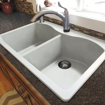 Aversa 33 x 22 Granite Double Equal Drop-in Kitchen Sink Finish: White
