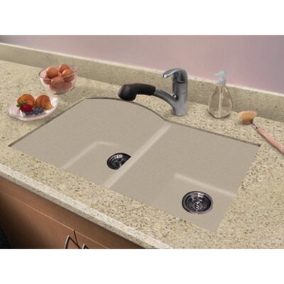 Aversa 31.5 x 20.5 Granite Double Offset Undermount Kitchen Sink Finish: Cafe Latte