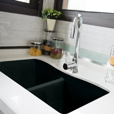 Aversa 32 x 19 Granite Double Equal Undermount Kitchen Sink Finish: Black